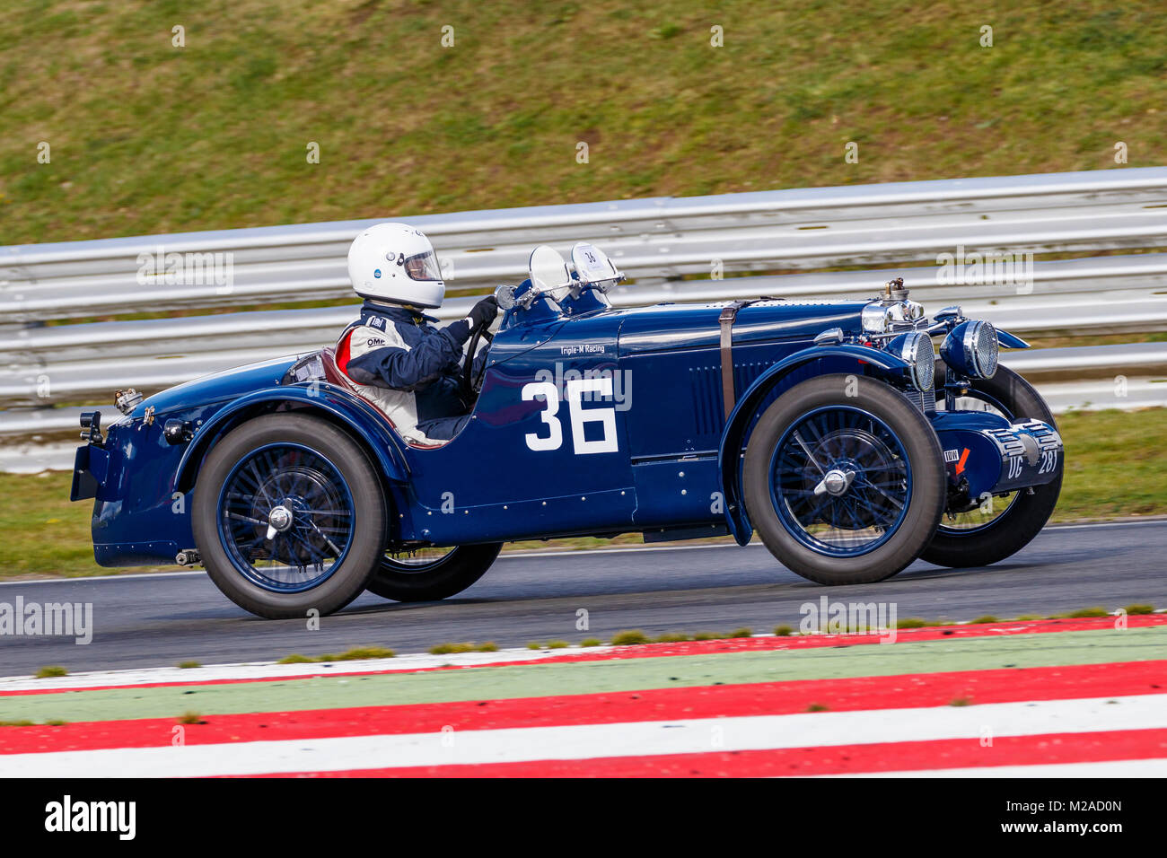 1932 MG C-Type with driver Christopher Edmondson at the 2017 Formula Vintage meeting, Snetterton, Norfolk, UK. - Stock Image