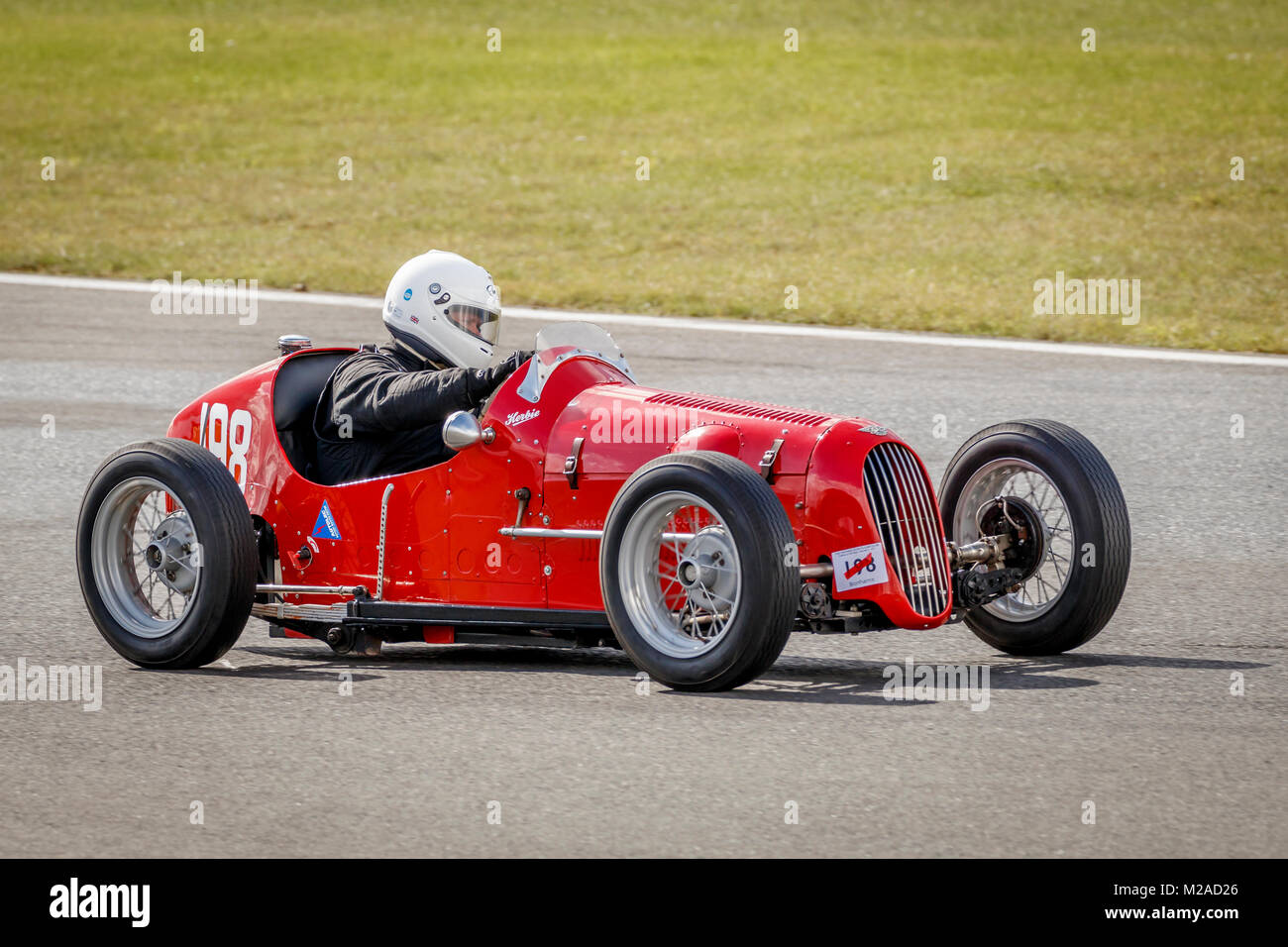1937 Austin 7 Monoposto with driver James Ricketts at the 2017 Formula Vintage meeting, Snetterton, Norfolk, UK. - Stock Image