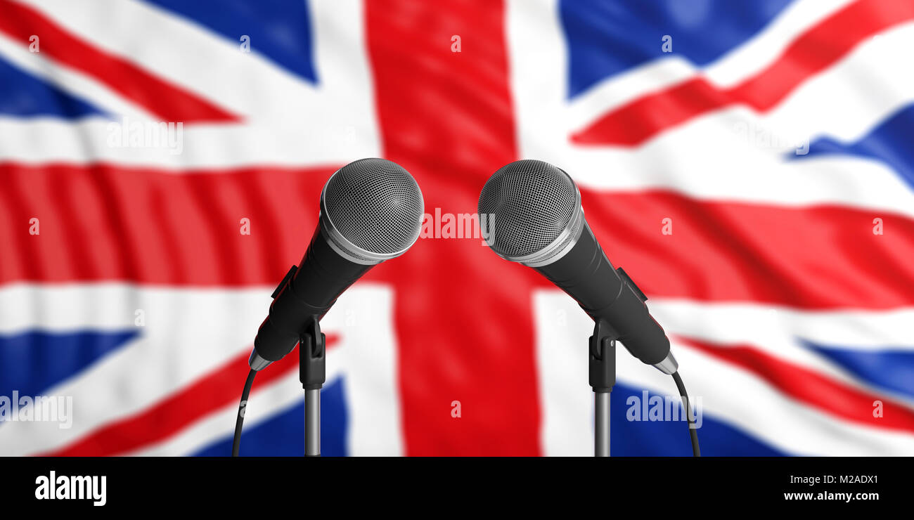 England blur flag backdrop, two cable microphones in front. Political, business concept. 3d illustration - Stock Image