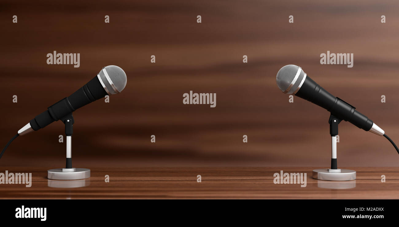 Business conference concept. Cable microphones on stands on a wooden background, banner, copy space. 3d illustration - Stock Image