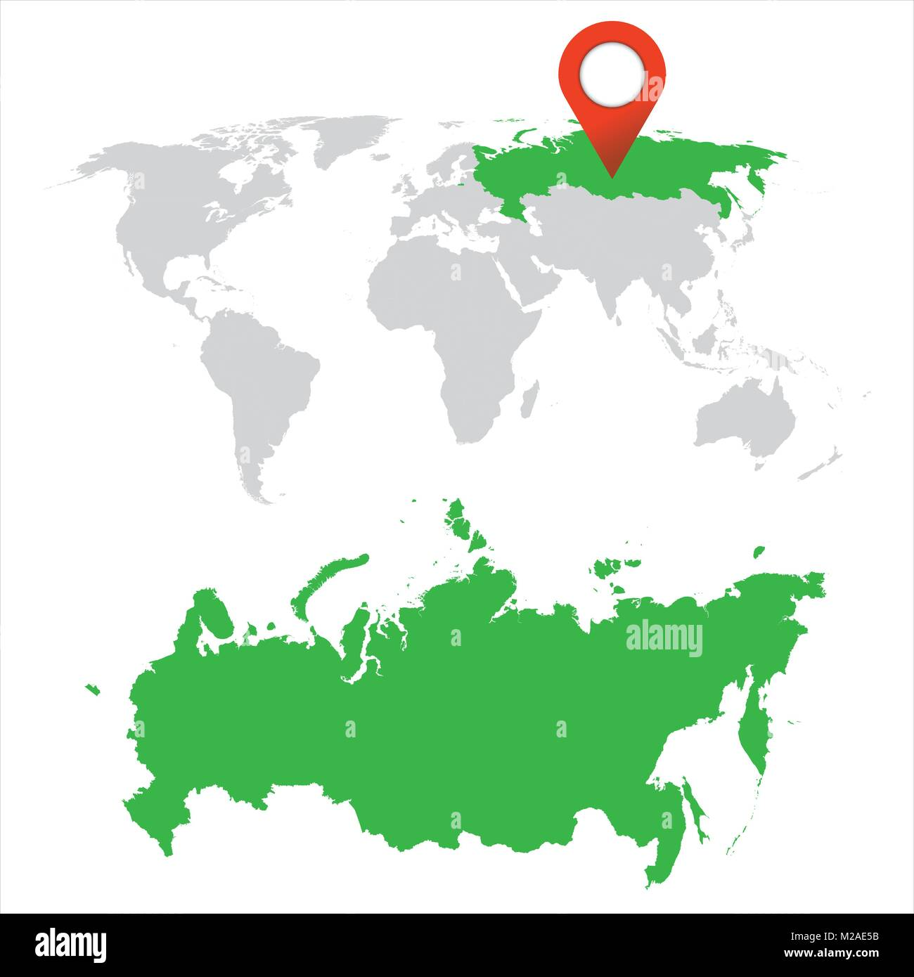 Detailed map of Russia and World map navigation set. Flat vector illustration. - Stock Image