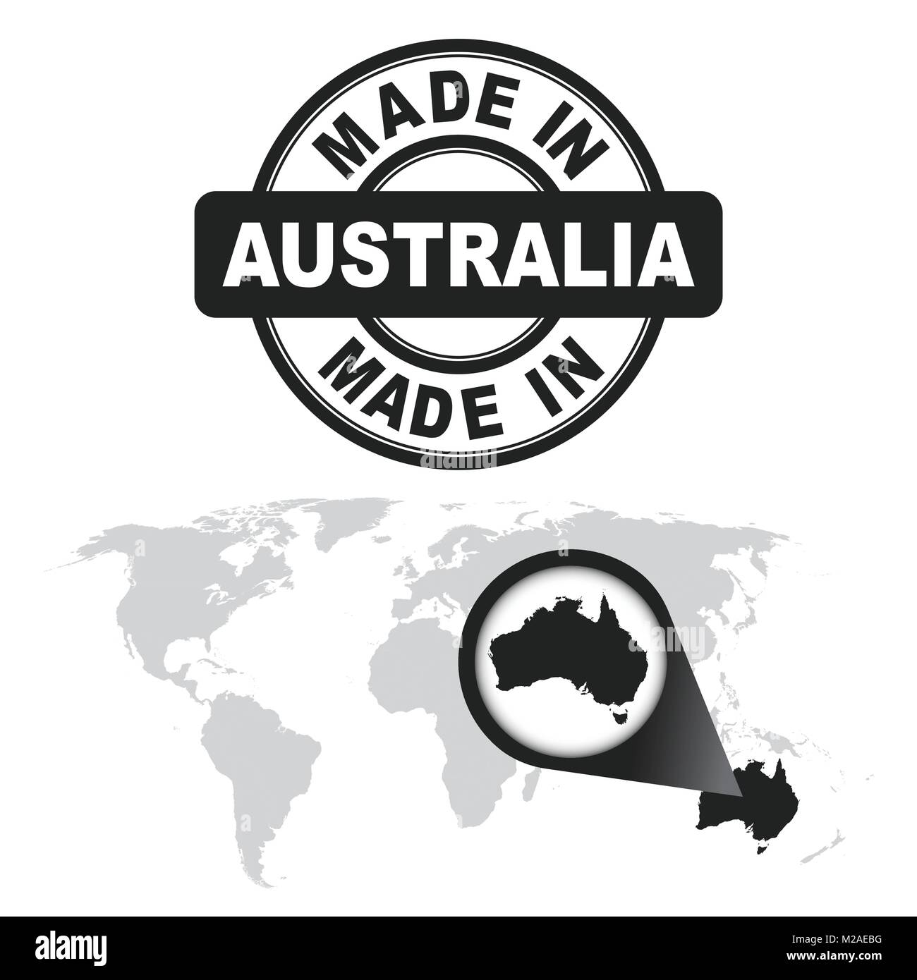 Made in australia stamp world map with zoom on country vector made in australia stamp world map with zoom on country vector emblem in flat style on white background gumiabroncs Image collections