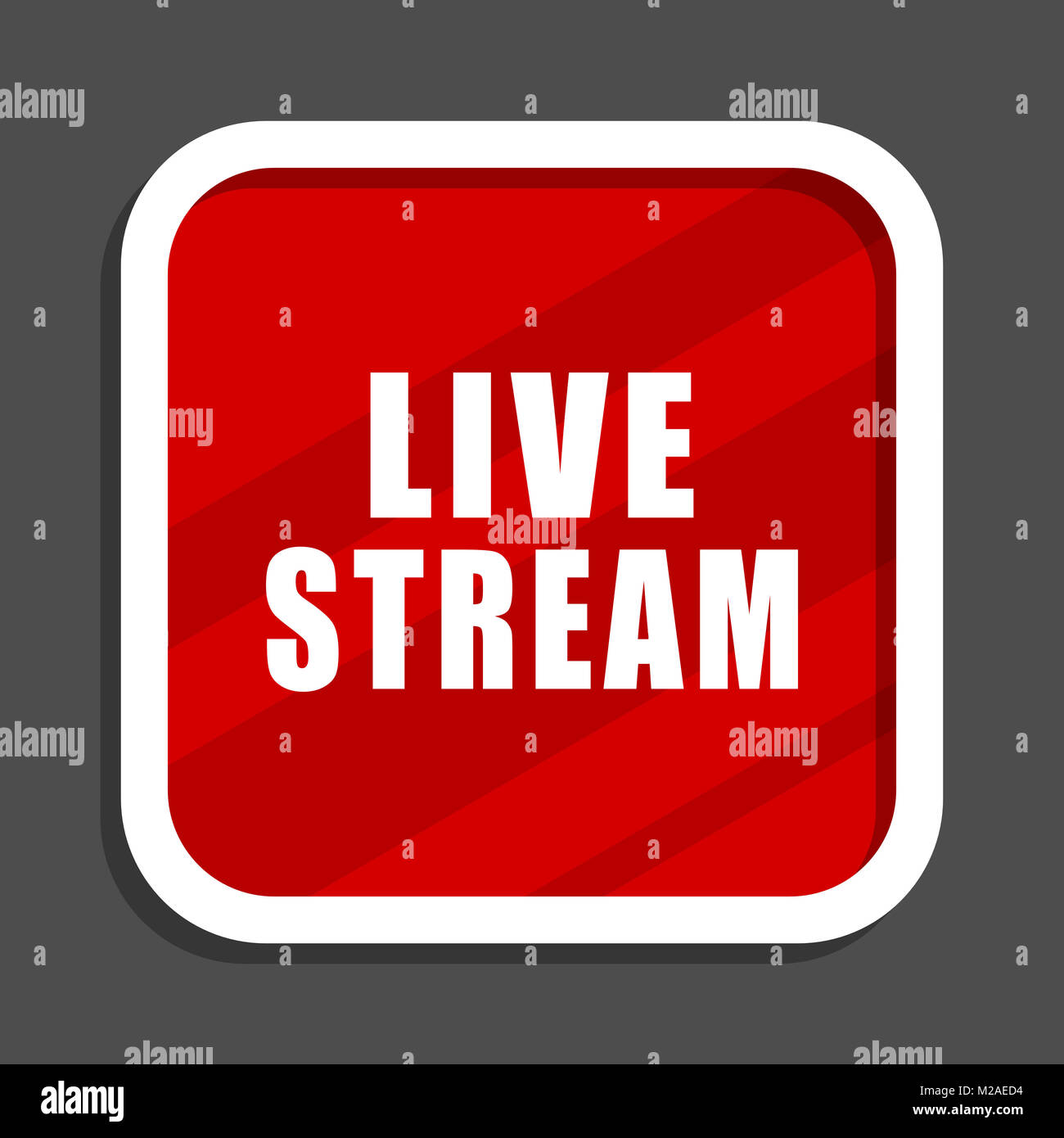 Live stream icon. Flat design square internet banner. - Stock Image