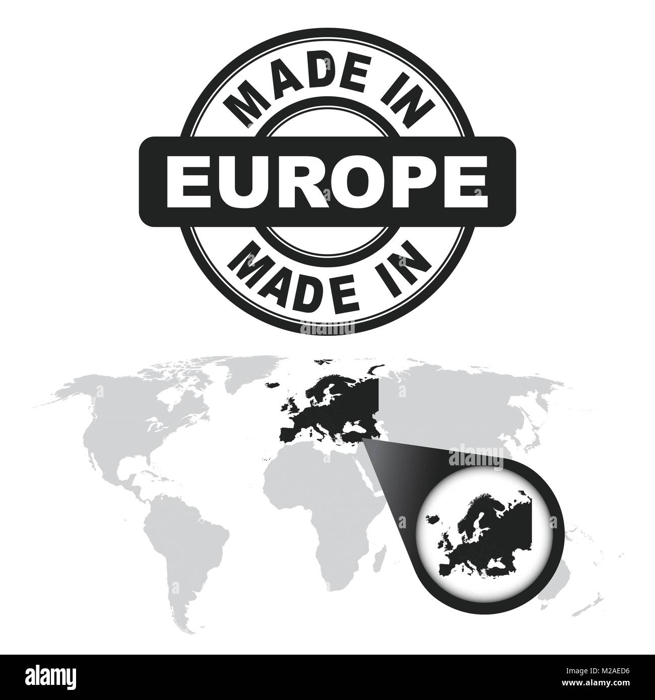 Made in Europe stamp. World map with zoom on country. Vector emblem Zoom World Map With Countries on zoom out of a map, large world maps with countries, world map showing all countries, zoom world map.png, zoom in map, google world maps with countries,