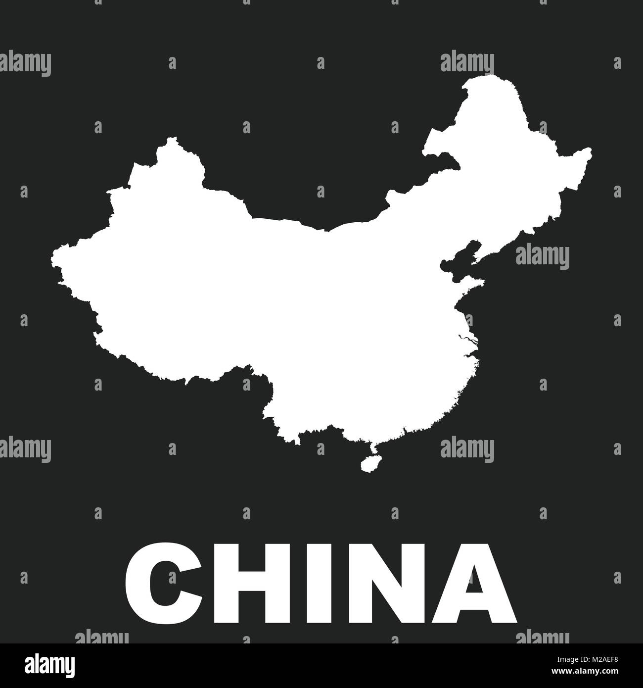 China map. Flat vector illustration on black background - Stock Vector