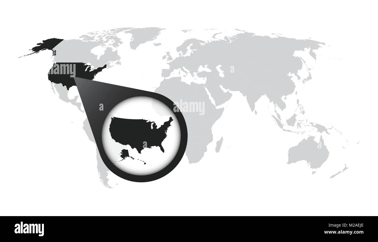 World map with zoom on usa america map in loupe vector world map with zoom on usa america map in loupe vector illustration in flat style gumiabroncs Choice Image