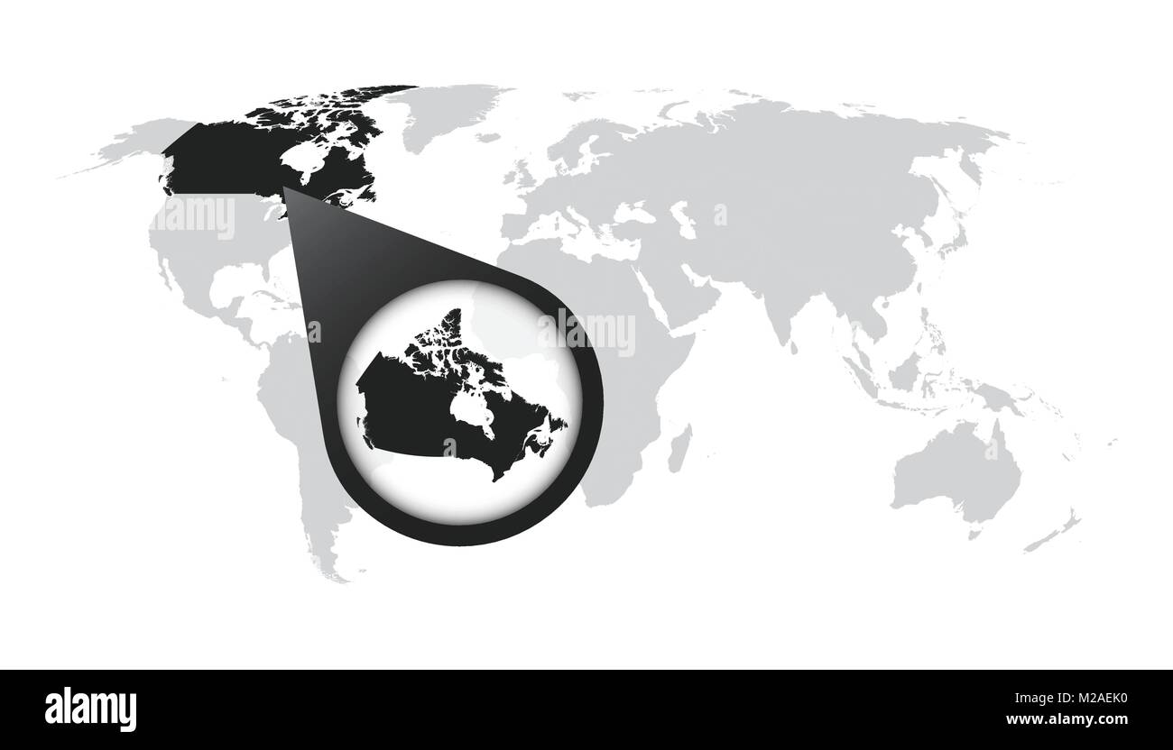 World map with zoom on Canada Map in loupe Vector illustration in