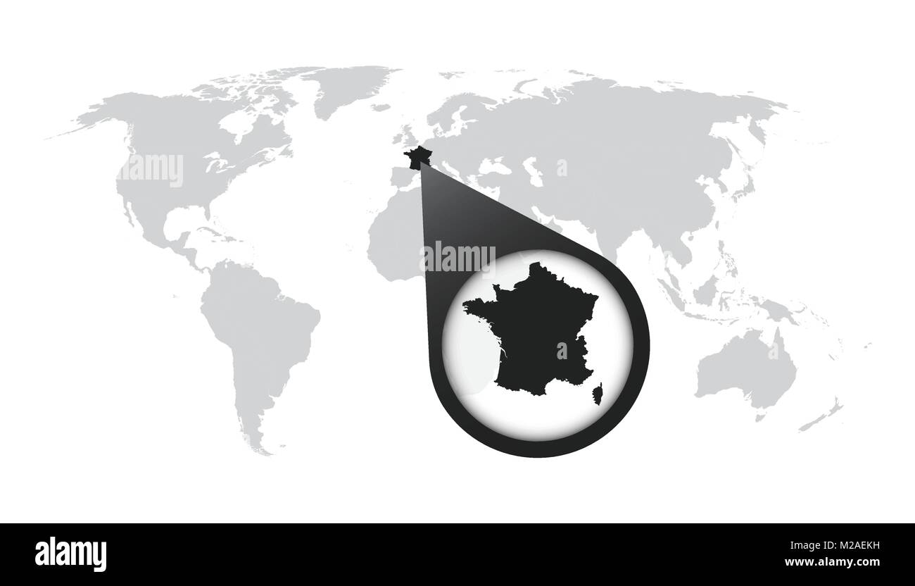 World map with zoom on france map in loupe vector illustration in world map with zoom on france map in loupe vector illustration in flat style gumiabroncs Images