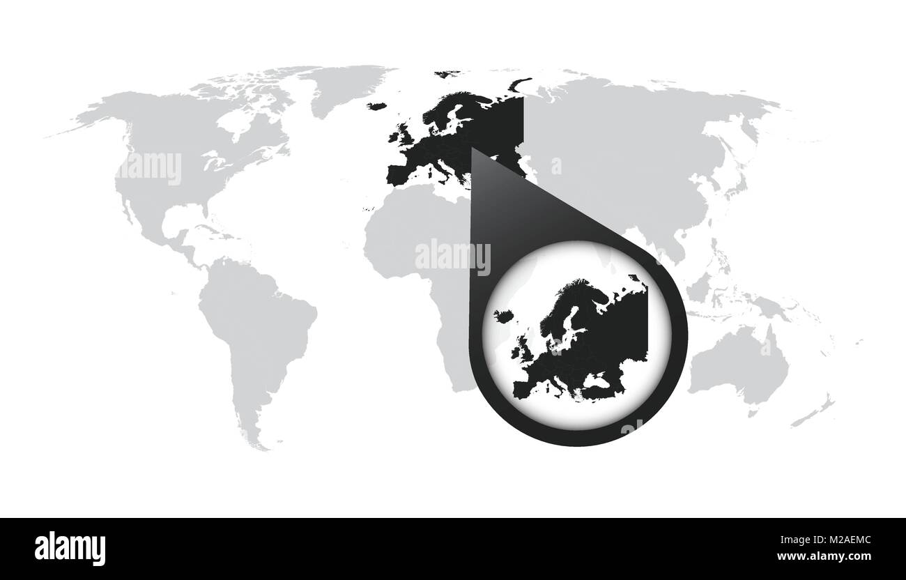 Carte Europe Zoom.World Map With Zoom On Europe Map In Loupe Vector