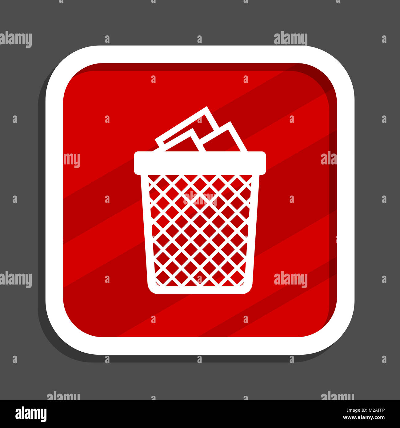 Trash can icon. Flat design square internet banner. - Stock Image