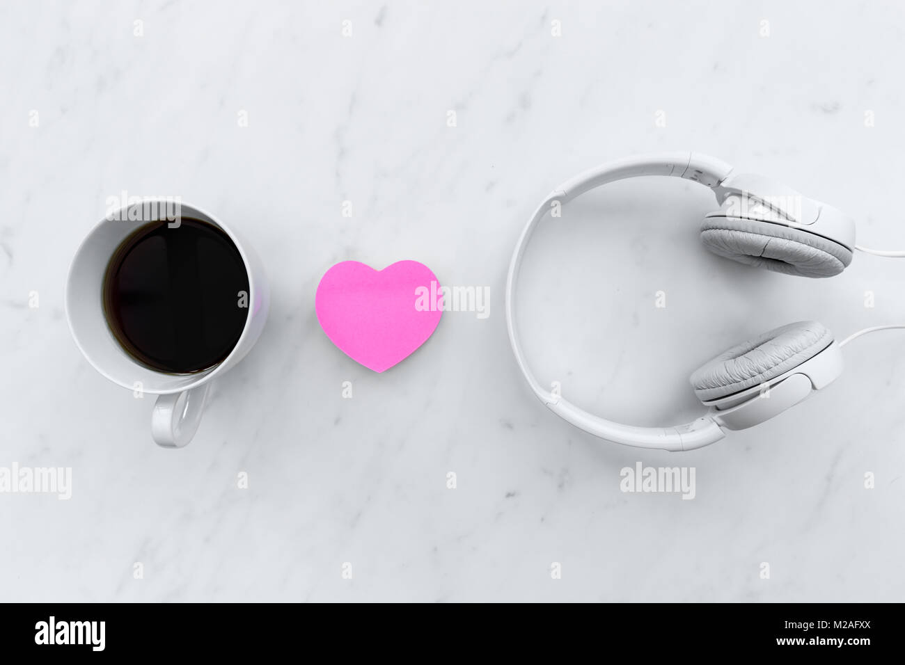 Love Music Concept With Pink Love Heart Shape And White Headphones On Stock Photo Alamy