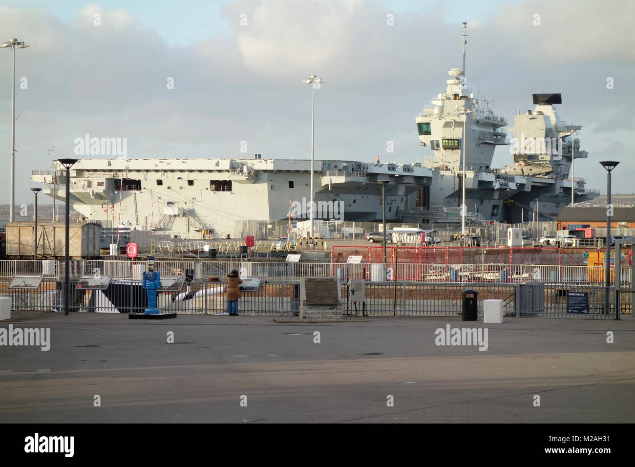 HMS Queen Elizabeth - Aircraft Carrier docked in HM Naval Base Portsmouth, Hampshire, United Kingdom Stock Photo