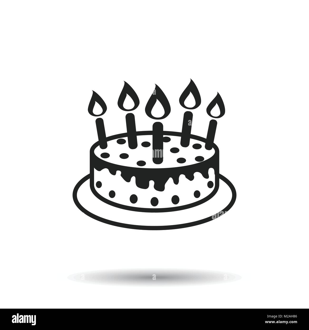 Cake With Candle Icon Simple Flat Pictogram For Business Marketing