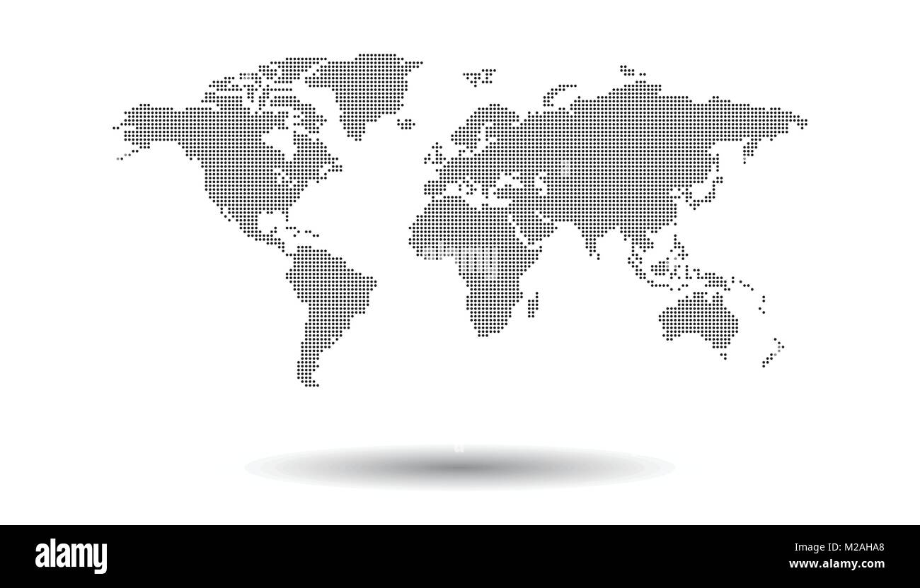 Dotted black world map on white background world map vector dotted black world map on white background world map vector template for website infographics design flat earth world map illustration gumiabroncs Images