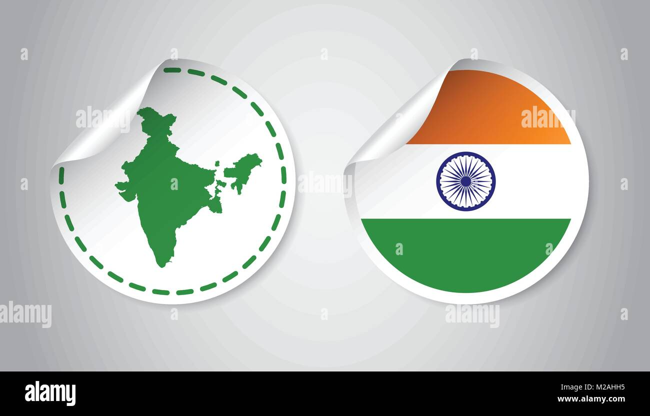 India sticker with flag and map label round tag with country vector illustration on gray background