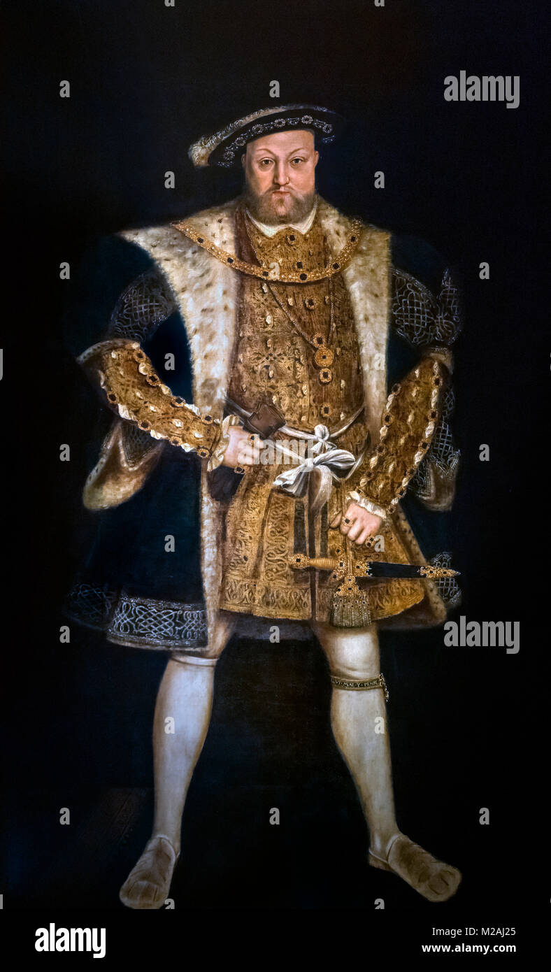 Henry VIII. Portrait of King Henry VIII, by an unknown artist after Hans Holbein, c.1550-90 - Stock Image