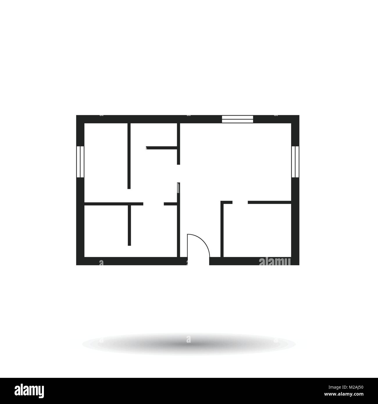 House plan simple flat icon. Vector illustration on white background ...