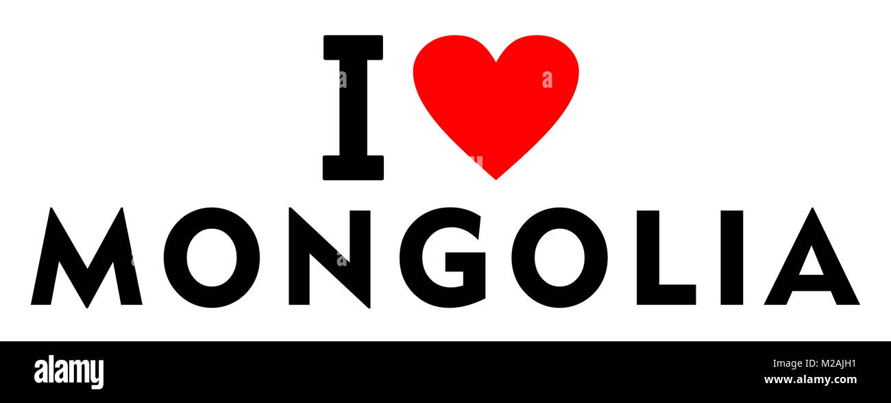 I love Mongolia country text red heart message - Stock Image