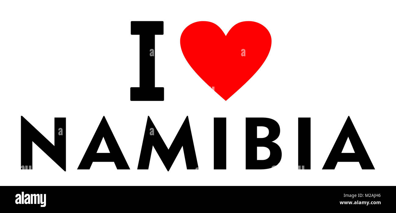 I love Namibia country text red heart message - Stock Image