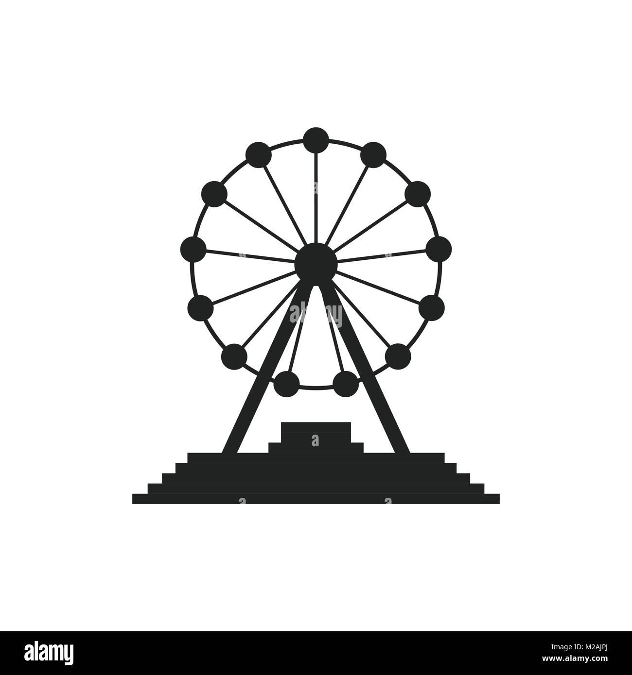 Ferris Wheel Vector Icon Carousel In Park Icon Amusement Ride Stock Vector Image Art Alamy