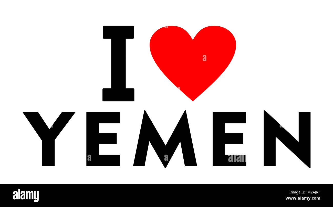 I love Yemen country text red heart message - Stock Image