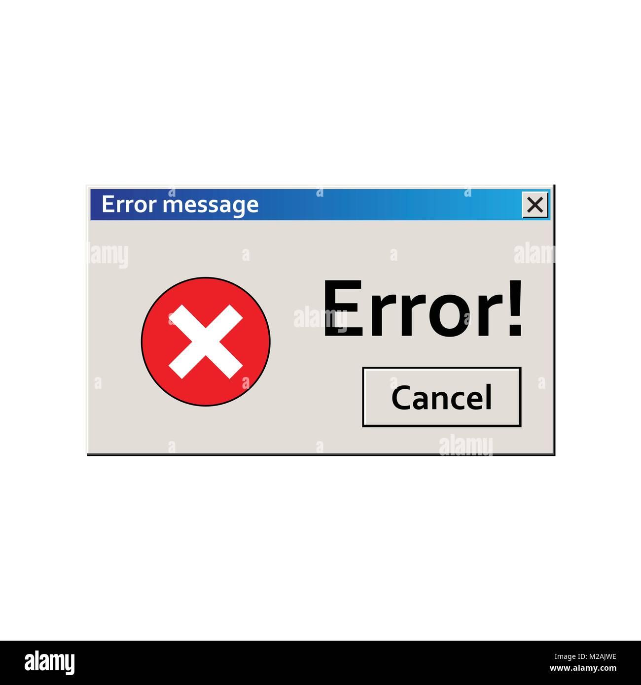 Error warning message. User Interface window. Virus alert illustration. - Stock Image