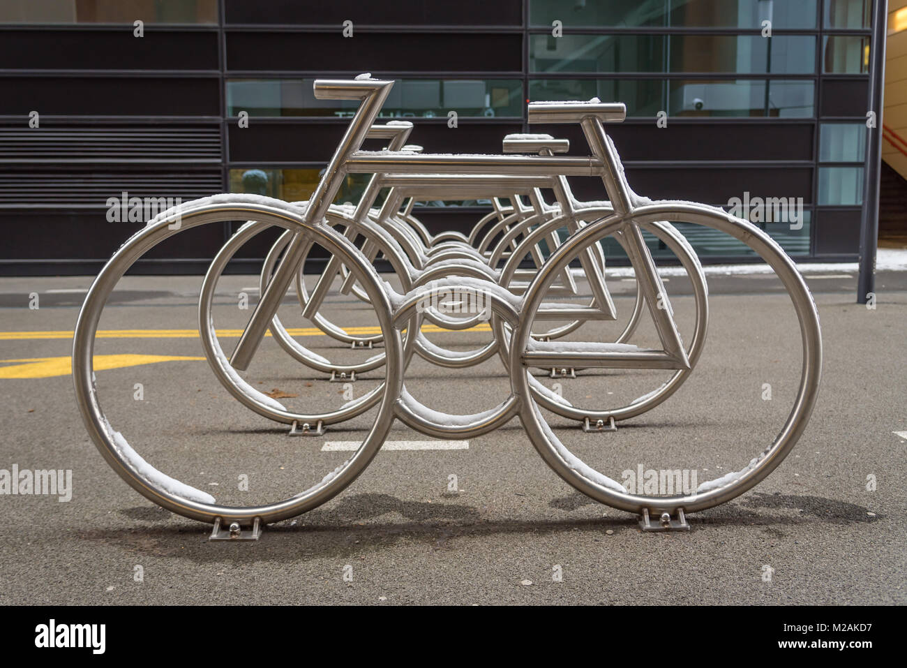 Bicycle rack found in the Barcode Project, Oslo, Norway - Stock Image
