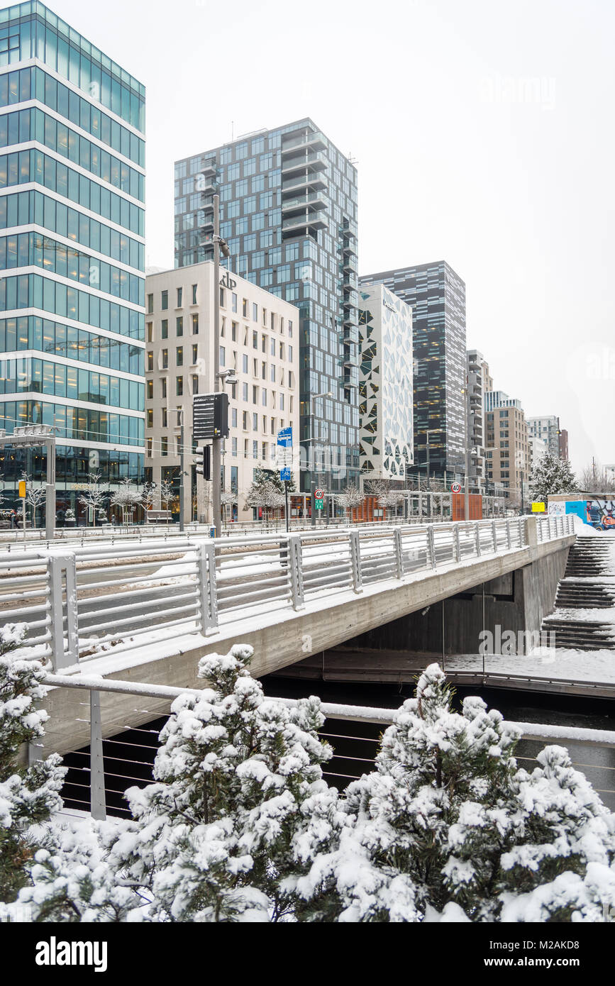 looking towards Barcode district, Oslo, Norway - Stock Image