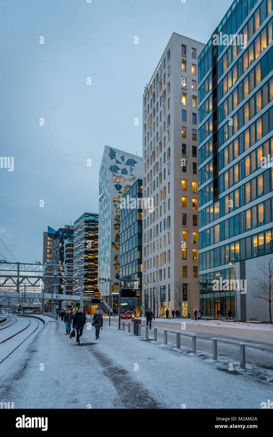 The barcode, a new business district in central Oslo Norway - Stock Image