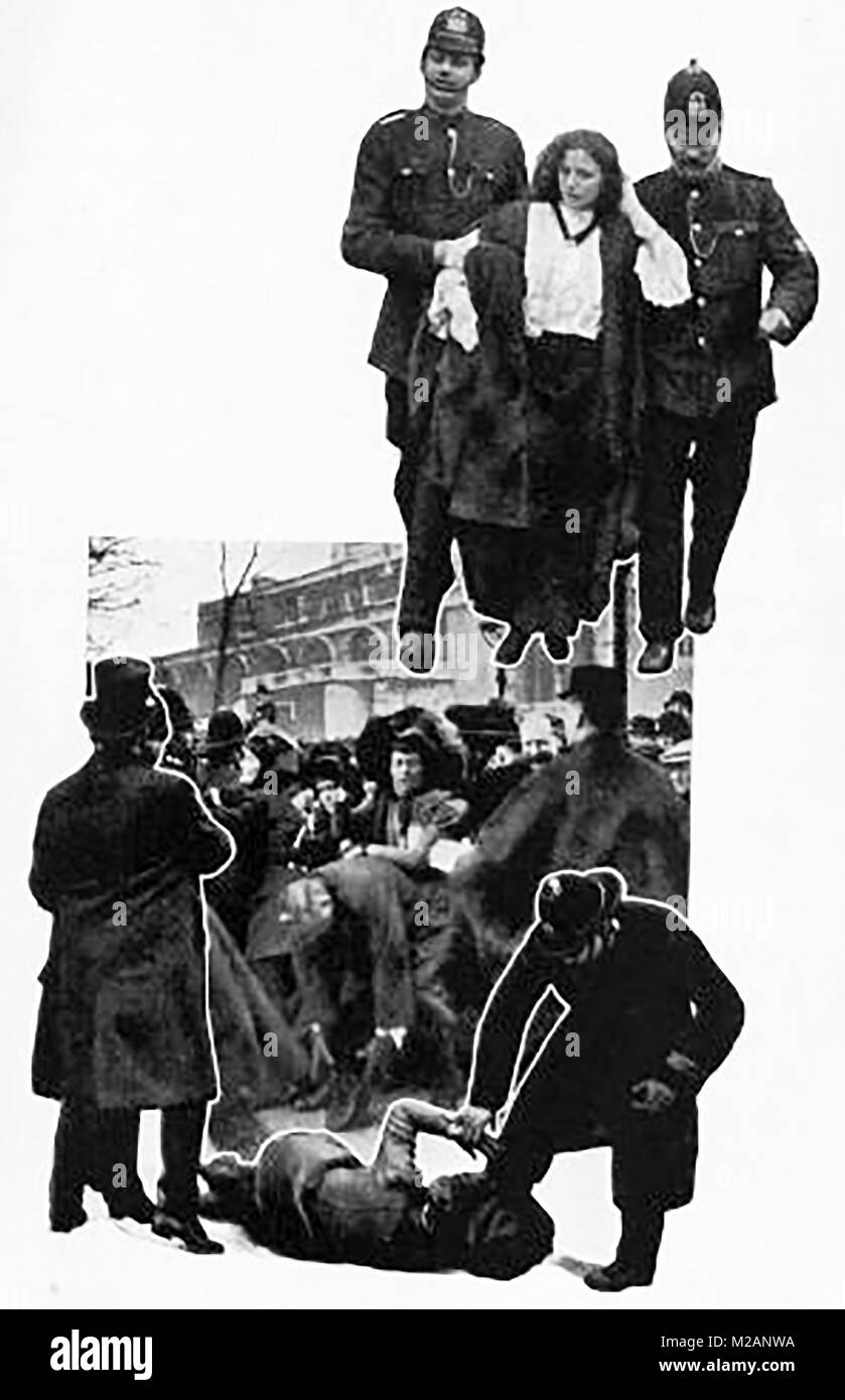 Suffragettes - The Black Friday protests  November 1910 (from a publication of the time) - Stock Image