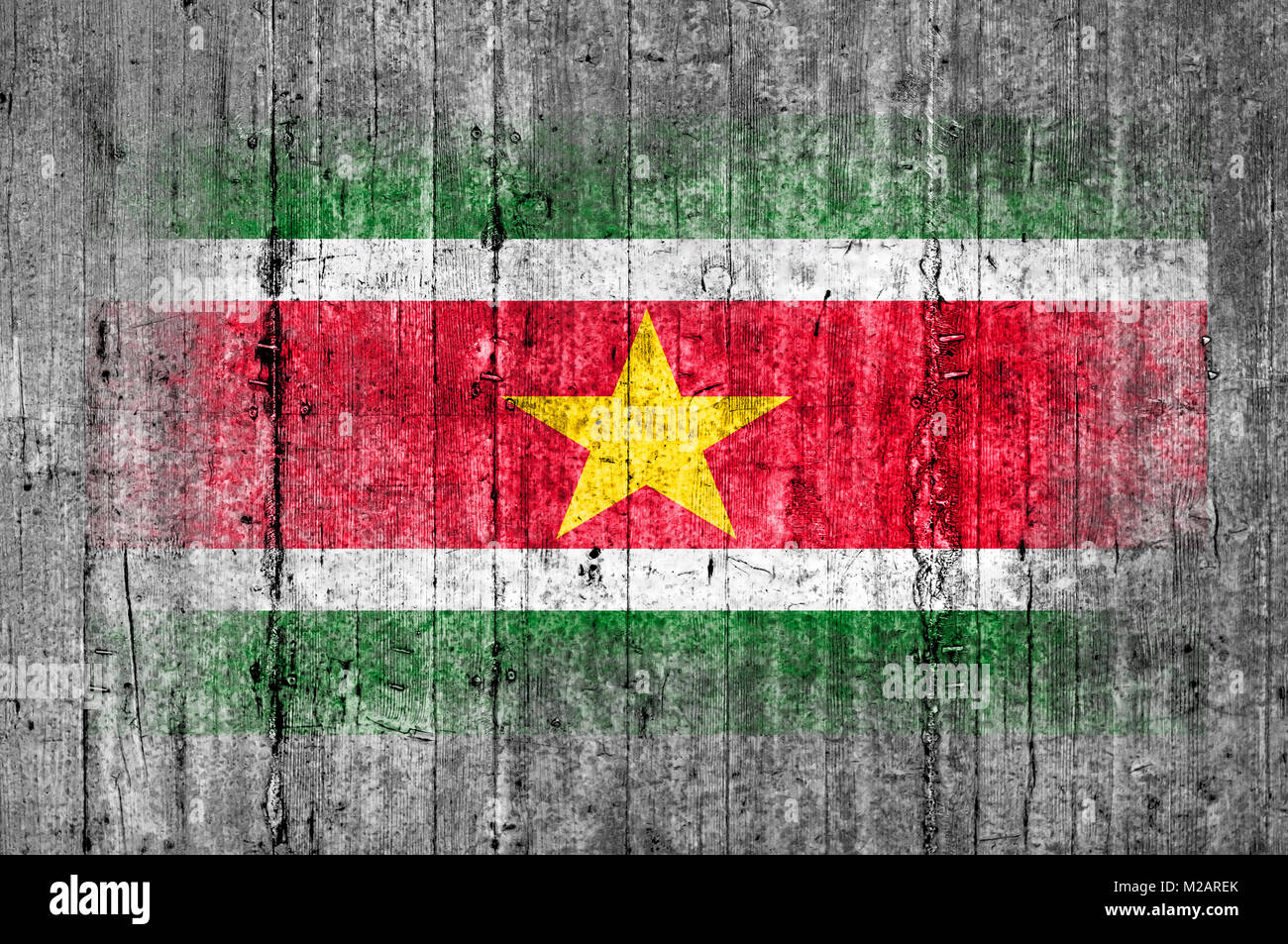 Suriname  flag painted on background texture gray concrete Stock Photo