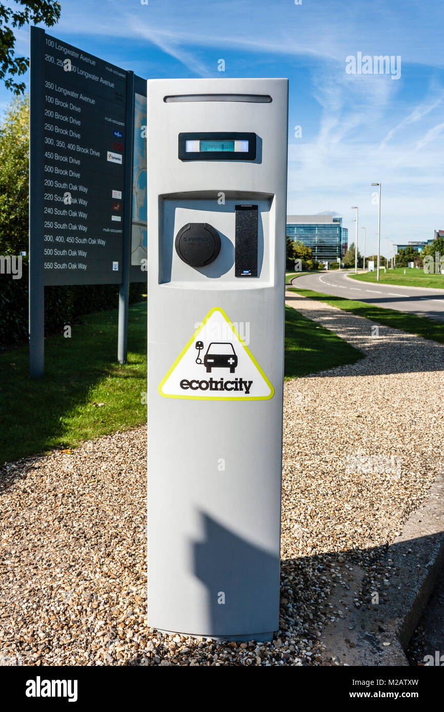 Ecotricity car charging point in Reading busiiness park, Reading, Berkshire, England, GB, UK - Stock Image