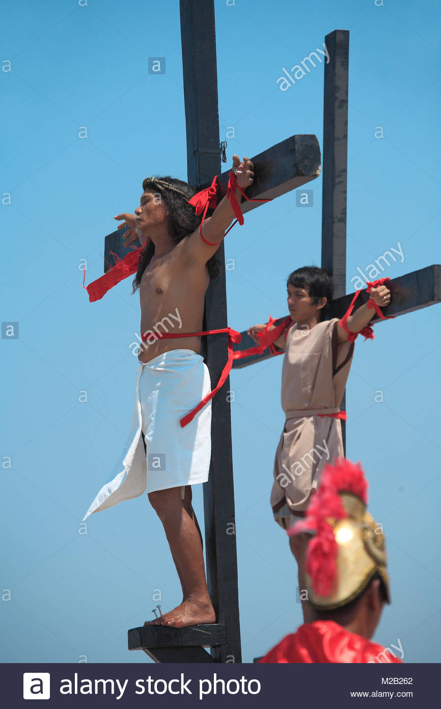 Crucifixion of fanatic filipinos, bloody ritual, annual Good Friday, Easter, San Pedro Cutud, Luzon, Philippines, - Stock Image