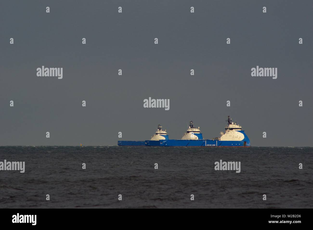Three Medium Sized Oil Platform Supply Vessels, Nao Viking, Prosper and Power. Moored Offshore Aberdeen, North Sea, - Stock Image