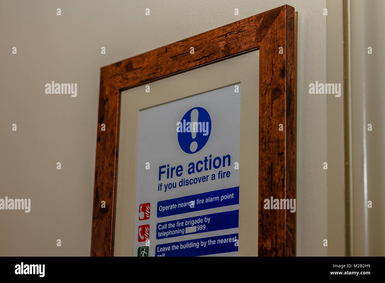 Fire safety notice - Stock Image