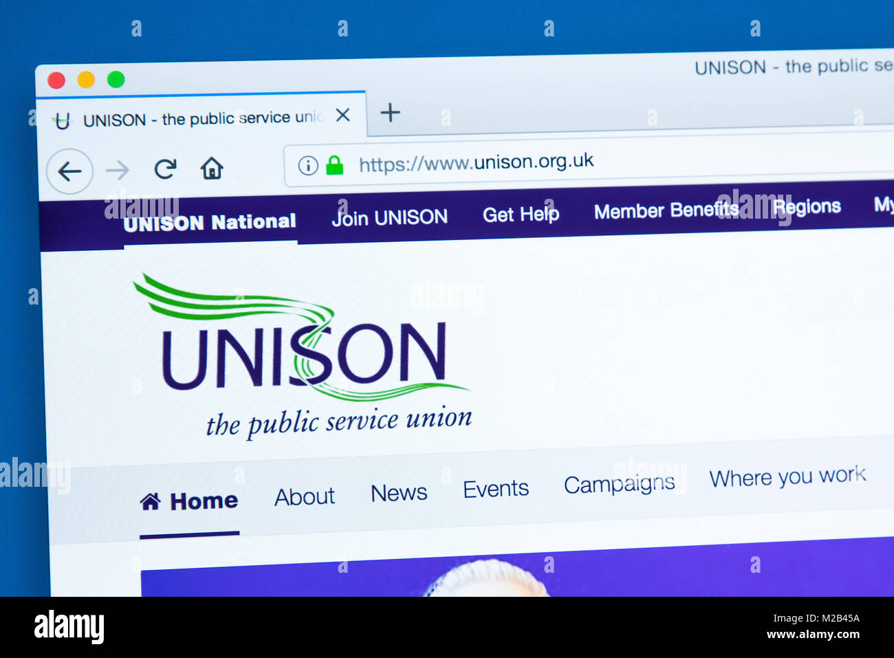 LONDON, UK - JANUARY 8TH 2018: The homepage of the official website for the UNISON trade union - members are usually - Stock Image