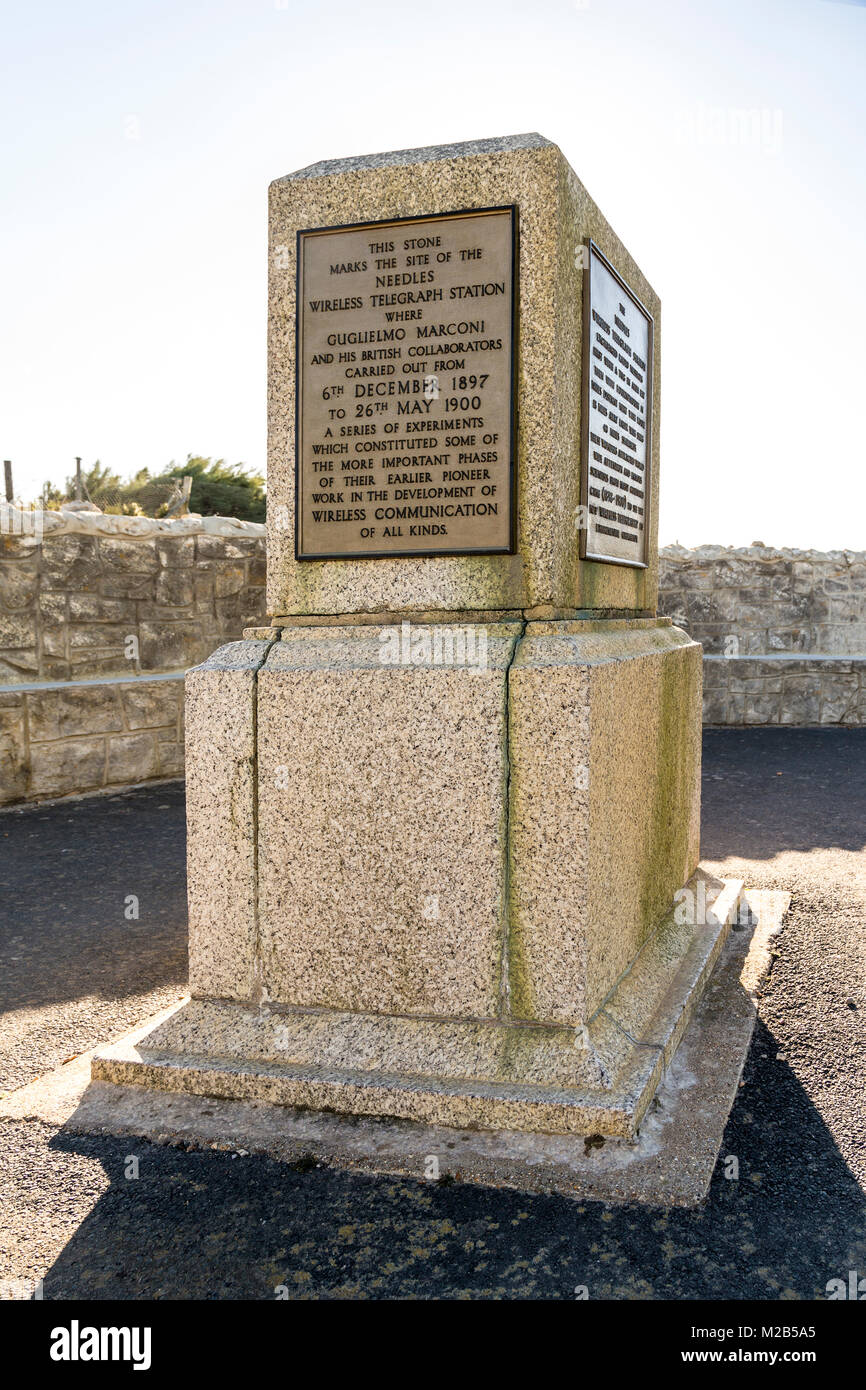 Memorial commemorating wireless transmission by Marconi, Alum Bay, Isle of Wight, UK - Stock Image