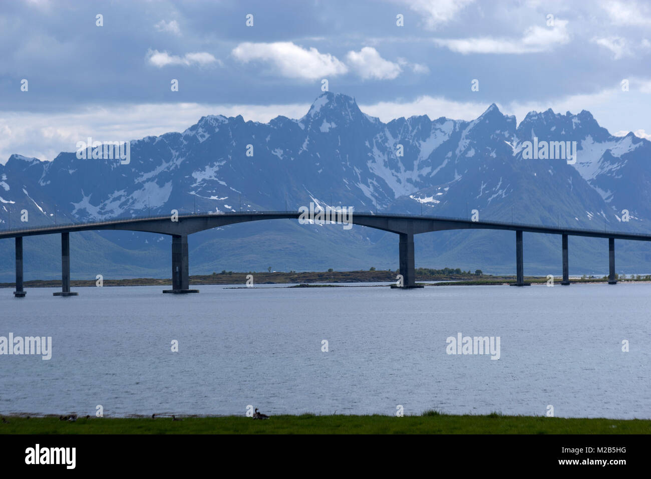 Bridge joint islands, type of Cantilever bridge,  in the Lofoten archipelago, county of Nordland, Norway. - Stock Image