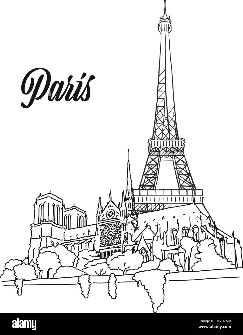 Paris Landmark Banner Sign, hand drawn outline illustration for print design and travel marketing - Stock Image