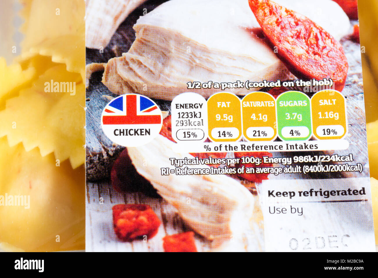 chicken pasta food label close up showing traffic light rating