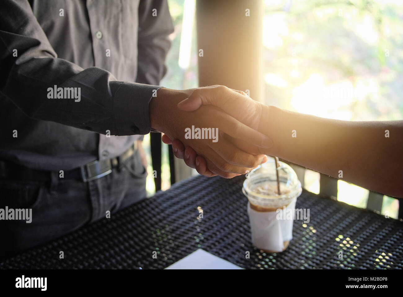Image businessman handshake. Successful handshake after good deal. business meeting - Stock Image