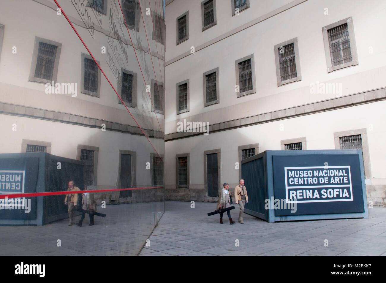 Facade of Centro de Arte Reina Sofia National Museum. Madrid, Spain. - Stock Image