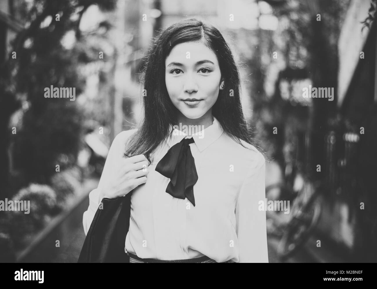 Beautiful japanese girl walking in tokyo concept about teenagers and school stock image