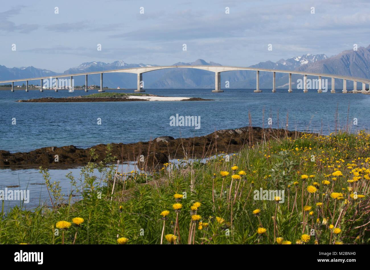Bridge joint islands, type of Cantilever bridge,  in the Vesterålen archipelago, county of Nordland, Norway. - Stock Image