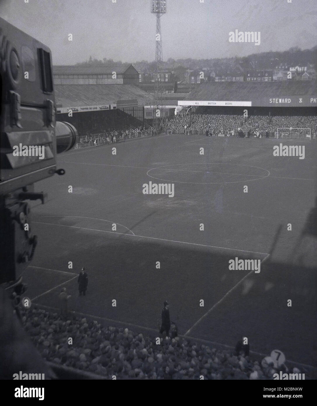 1960s, historical, overhead picture showing the football pitch and stands of Norwich FC at this time, taken from - Stock Image