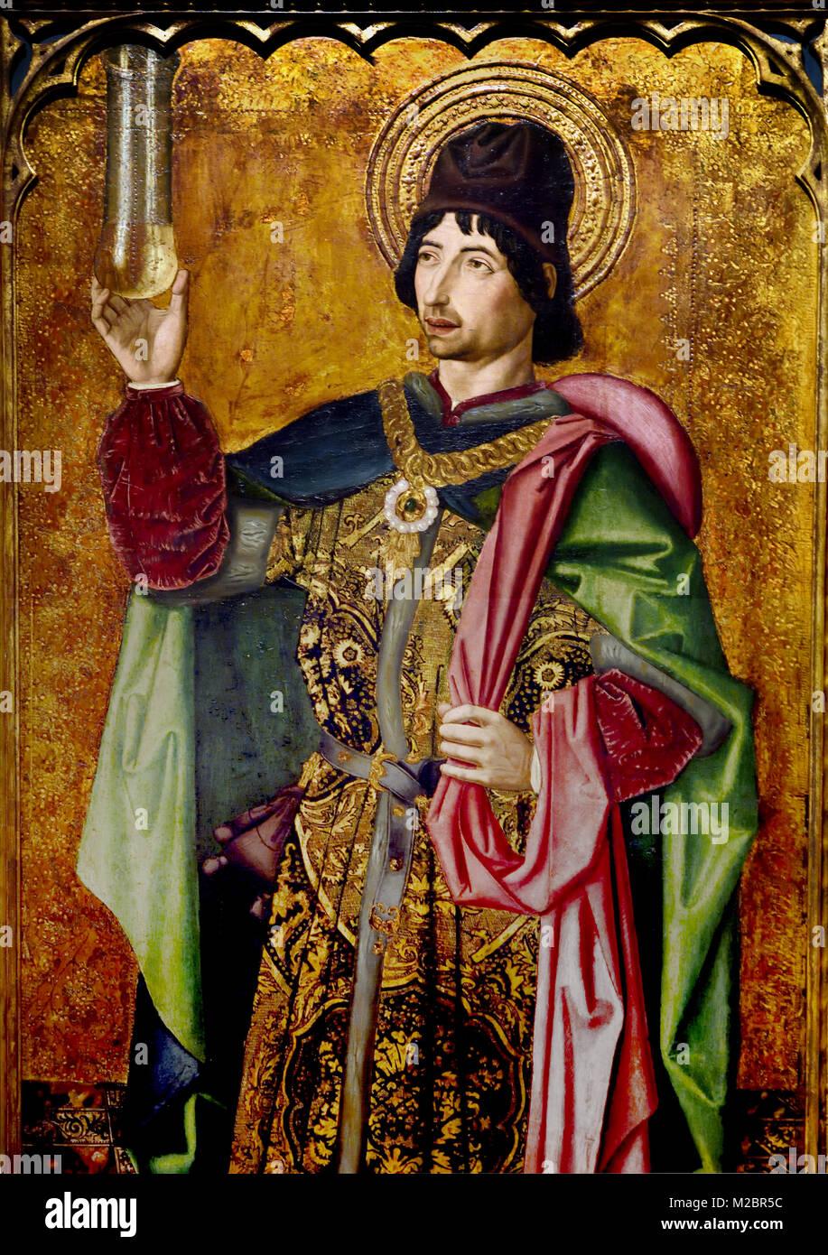 Bartolomé Bermejo, (1440-1495), The Holy Damian, (1490) 15th-century, Spain, Spanish, - Stock Image