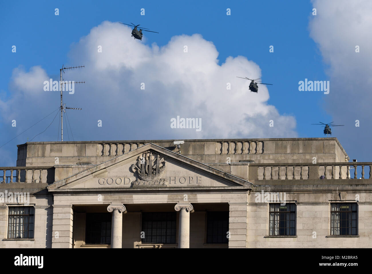 Royal Air Force Boeing Chinook helicopters flying over London passing over the High Commission of South Africa with - Stock Image