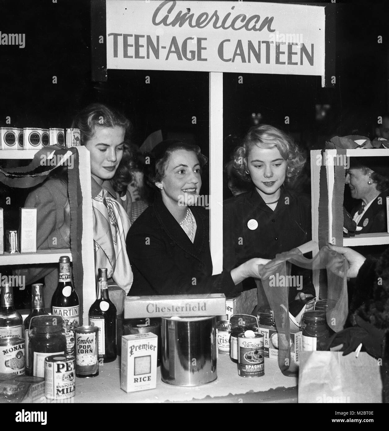 American goods including nylon stickings for sale in London after world war two rationing ends in 1954 - Stock Image