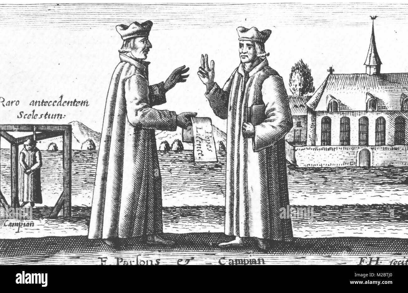 EDMUND CAMPION at right with fellow Jesuit Catholic missionary Robert Parsons. Campion's hanging at Tyburn is - Stock Image