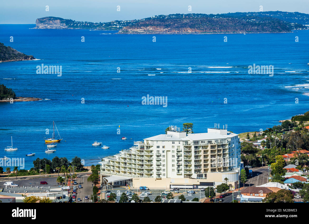 Australia, New South Wales, Central Coast, view of the prominent Mantra Ettalong Beach resort and Broken Bay - Stock Image